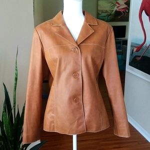 Mossimo Tan Leather Button Up Hipster Jacket